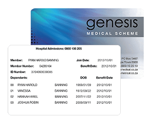 genesis medical scheme membership card front and back