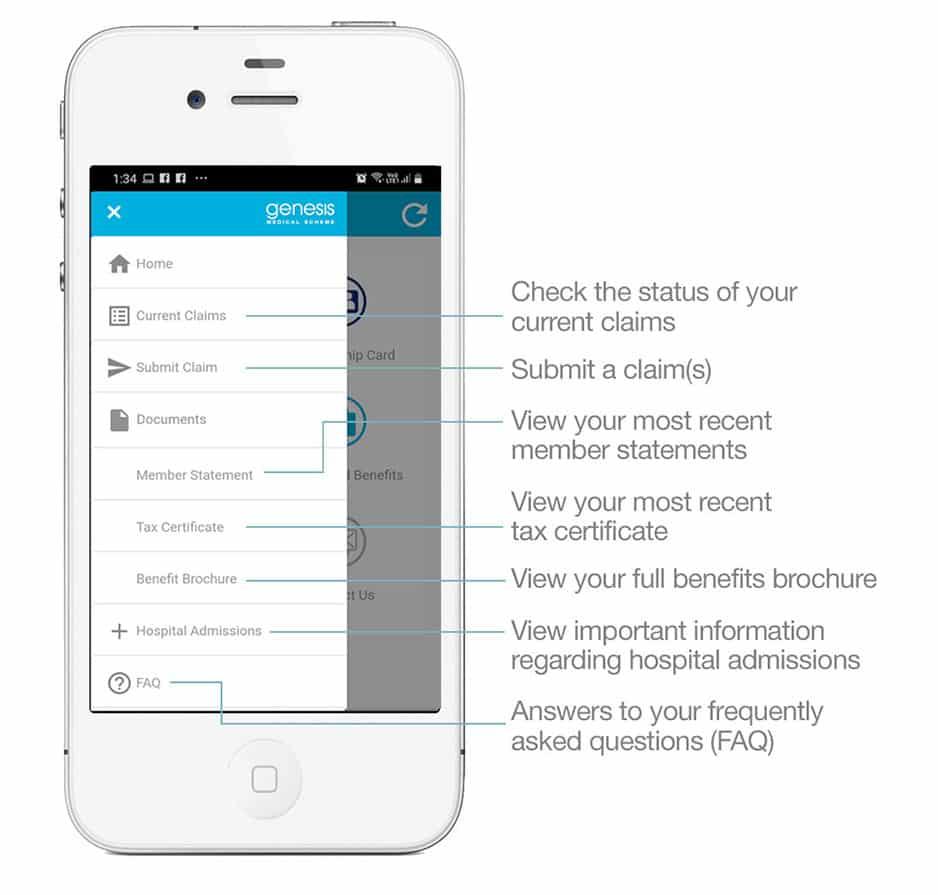 genesis medical scheme smartphone app home screen 2